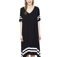 V-neck Striped Pleated Mid Dress