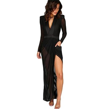 Sexy Wrap Sheer Club Dress Women Black Deep V Neck Shoulder Pads Maxi Dresses Casual Long Sleeve Dress