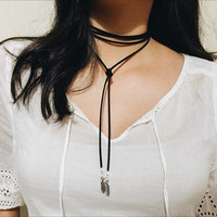Silver Feather Charms Wrap Around Choker: Black Velvet Faux Suede Single Strand Choker Collar Bow Ribbon Boho Necklace