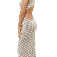 Grey Striped Cross Front Maxi Dress with Open Back