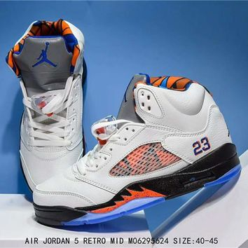 Air Jordan 5 Retro Blue/Orange Basketball Sneaker Size 40-45