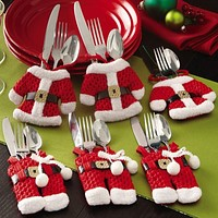Hot Sale 6Pcs Fancy Santa Christmas Decorations Silverware Holders Pockets Dinner Table Decor Home Decoration Free Shipping