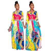 Women Retro Print Long Sleeve Lapel Dress