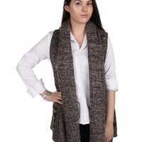 Brown Long Knit Stripped Winter Vest