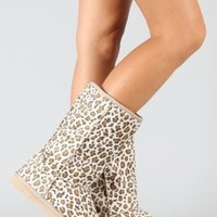 Amazon.com: Leopard Round Toe Mid Calf Faux Shearling Boot Camel: Shoes