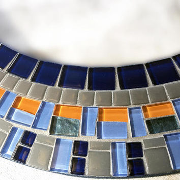 Mosaic Mirror, Round Wall Mirror, Blue Gray Orange, Modern Nursery Decor