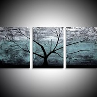"ARTFINDER: triptych multi color 3 panel wall art color turquoise black white impasto tree in wood ""The Tree of life"" turquoise edition 3 panel wall abstract canvas abstraction 120 x 40"" by Stuart Wright - ""Turquoise Wood"" impasto tree artwork turquoise..."