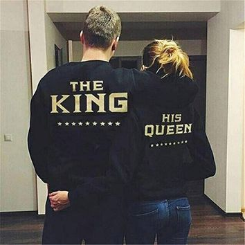 Fashion Women Men Hoodie Punk KING QUEEN Funny Hoodie Letter Print Casual Couple Tracksuit