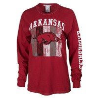 Official NCAA University of Arkansas Razorbacks GO BIG RED HOGS! Arkansas Fight Women's Boyfriend Fit Long Sleeve Pigment Washed Crew Neck Stylish Sweatshirt