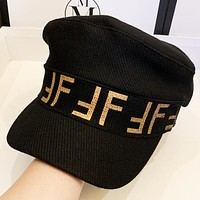 Fendi Autumn And Winter Fashion New More Letter Print Cap Hat Women  Black