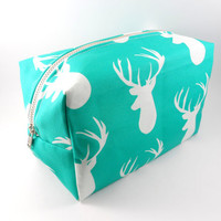 Aqua and White Stag Large Lined Makeup Bag with Metal Zipper, Gadget Case Pencil Case, Zippered, Cosmetics, For Her Under 20