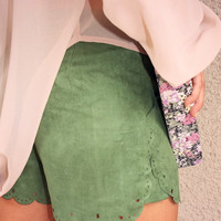 Suede Scallop Shorts with Cutouts