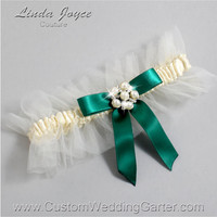 """Ivory and Green Tulle Wedding Garter Bridal """"Natalie"""" Silver 871 Ivory 925 Hunter Green Forest Prom Luxury Garter Plus Size & Queen Size"""