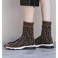 FENDI Autumn Winter New Woman Personality Knit Socks Boots Breathable Sneakers Running Shoes Coffee