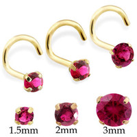 14K Real Gold (Nickel free) Nose Screw with Round Ruby