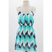 Monochrome Chevron Cami Dress - Monochrome chevron print spaghetti strap cami dress with elastic waist and lining - Free Shipping $34.99