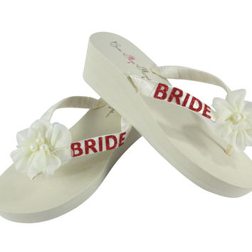 Hot Pink Bride Flip Flops with  Glitter & Chiffon Pearl Flowers on White or Ivory Wedges