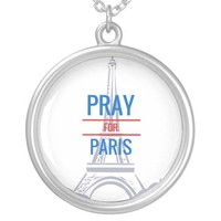 Pray for Paris Round Pendant Necklace