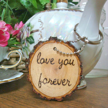 Handmade Wood Keychain Love You Forever Rustic Wooden Keyring Large