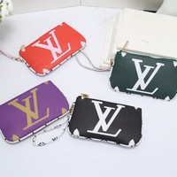 """Louis Vuitton"" Personality Classic Retro Multicolor Logo Fashion Print Messenger Bag Women Small Square Bag Wallet"