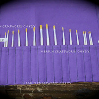 Purple Canvas Paintbrush Roll/Pencil Roll for Artists, Crochet Hook Roll, Knitting Needle Roll, Craft Tool Roll