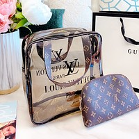 Lv two-piece shopping bag cosmetic bag wash bag Transparent jelly package rectangle