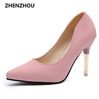 2017 summer elegant ol single shoes shallow mouth pointed toe high-heeled shoes thin heels sexy pink women's high-heeled shoes