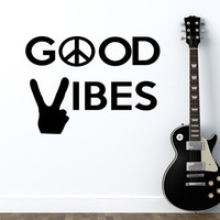 Good Vibes Wall Decal Piece Sign Vinyl Sticker Hippie Decals Home Indian Decor Bedroom Dorm T93
