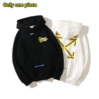 OFF- WHITE autumn and winter fashion casual yellow warning line arrow hooded zipper sweater