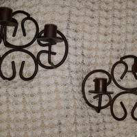 Set of Two Rustic Vintage Wrought Iron Wall Hanging Candle Holders. Rustic Decor Wall Sconce, Wedding Decor, Iron Candle Holder Wall Sconce