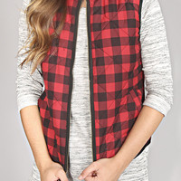 back to cool vest - red checker