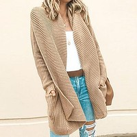 Cardigan Women Solid Sweater Cardigans Knitwear Mid Long Female Knitted Cardigans