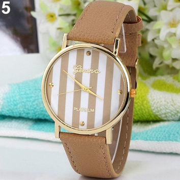 Women Men Fashion Chic Geneva Stripes Print Leatheroid Analog Quartz Wrist Watches = 1931775108