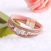 Hot sale Crystal Rhinestone Imitation pearls Magnetic Clasp Charm Bangle Women Boho Fashion Multilayer Wristband Jewelry