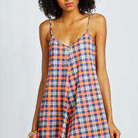 Rosa Neon Highlight Checked Swing Playsuit