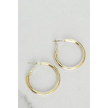 Gold Shiny Pipe Hoops Earrings