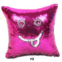 New Qualified Cushion Cover Double Color Glitter Sequins Throw Pillow Case Pilow Cafe Home Decor Levert 10 Colors Available