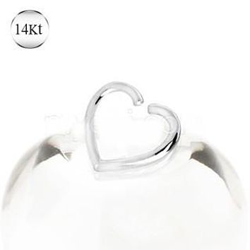 14Kt White Gold Heart Shaped Cartilage Earring