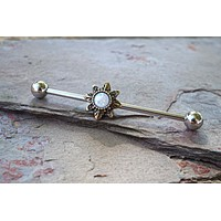 White Opal Sun Gold Industrial Barbell Scaffold Piercing