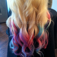 """Blonde Ombre, Tie Dye Hair, Bohemian Hair, Pink, Purple, Green, Festival Hair, Blonde Hair Extensions, 7 Pieces 22"""",Custom Your Root Color"""