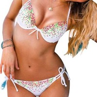 Glittery White Bikini Push up Halter Top Tie Side Pant Bottom Bathing Suit Swimwear (Small (US2))