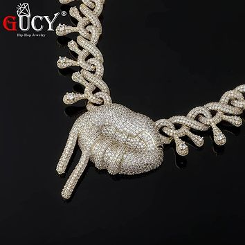 GUCY HIP HOP Lip Shape Necklace High Quality Miami Cuban Chain Iced Cubic Zirconia Men And Women Jewelry For Gift
