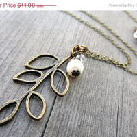 ON SALE Bronze Leaf Leaves Branch White Freshwater Pearl Crystal Bead Necklace Pendant Handmade Nature Jewelry