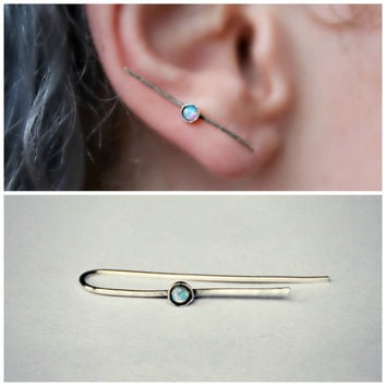 sterling silver ear climber with blue opal, silver ear crawler, silver ear pin, blue opal ear crawler, opal ear climber, opal ear cuff