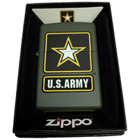 Zippo Custom Lighter - Green U.S. Army Black Star Primary Logo - Regular Green Matte 221CI017221