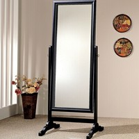 Warm brown finish wood with interior beaded trim beveled glass free standing cheval bedroom dressing mirror