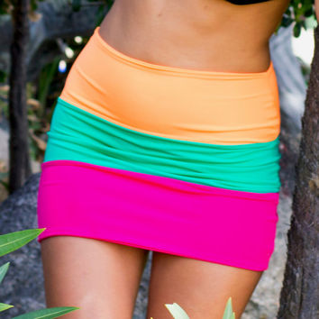 Cataleya  3 Tone Neon Bodycon Skirt by Sex by SexKittenCouture