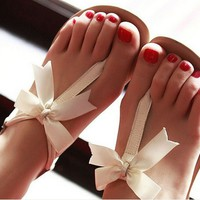 3235Bowknot is flat sandals