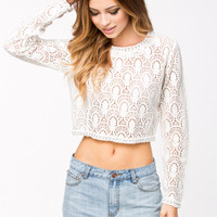 LOVE YOURSELF WHITE LACE CROP TOP