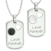 Love Forever Energy Amulets Heart Simulated Onyx White Simulated Cats Eye Yin Yang Couples Necklaces